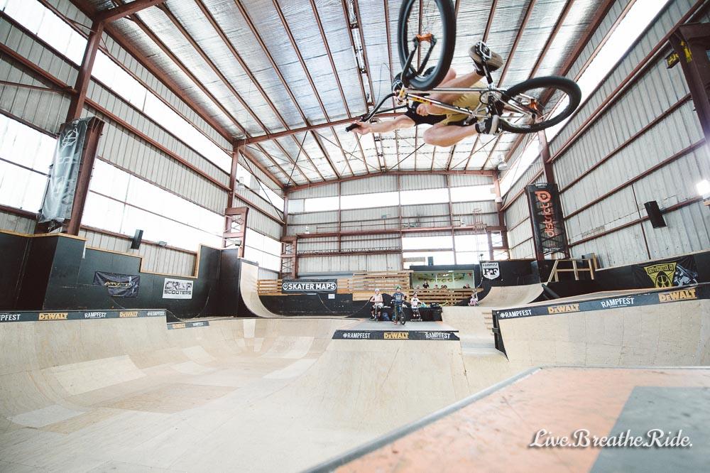 Chris riding BMX at Rampfest Skatepark