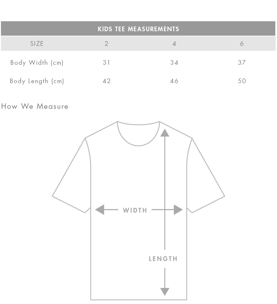 ASColour Kids Tee Size Guide