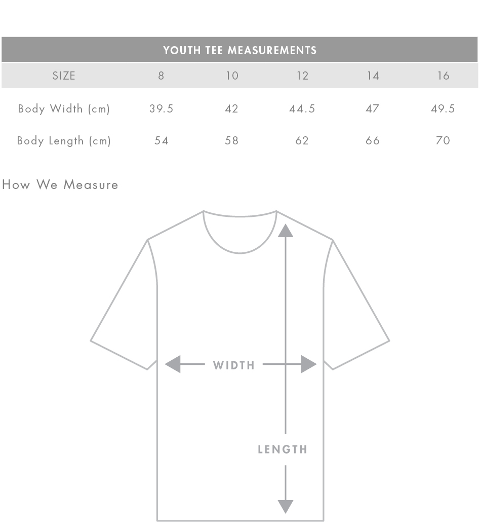 ASColour Youth Tee Size Guide
