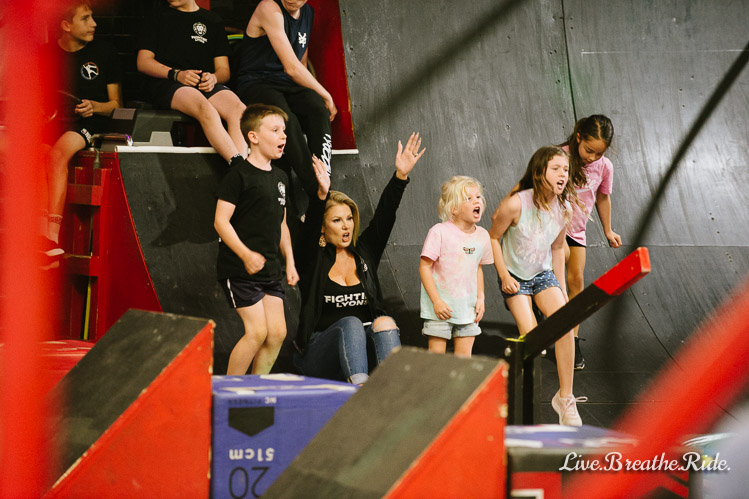 crowd support at a ninja warrior competition