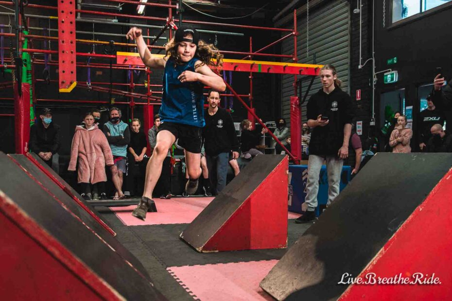 young boy competes in kids ninja competitions